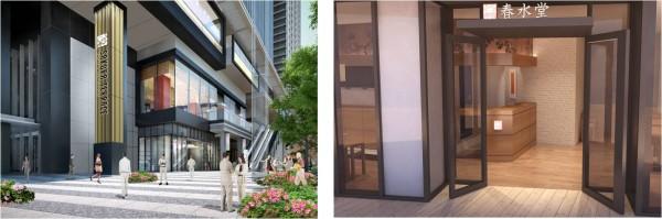 2階中心部のテラスは外部からもアクセス良好 全面ガラス張り、アジアンモダンな明るい店内