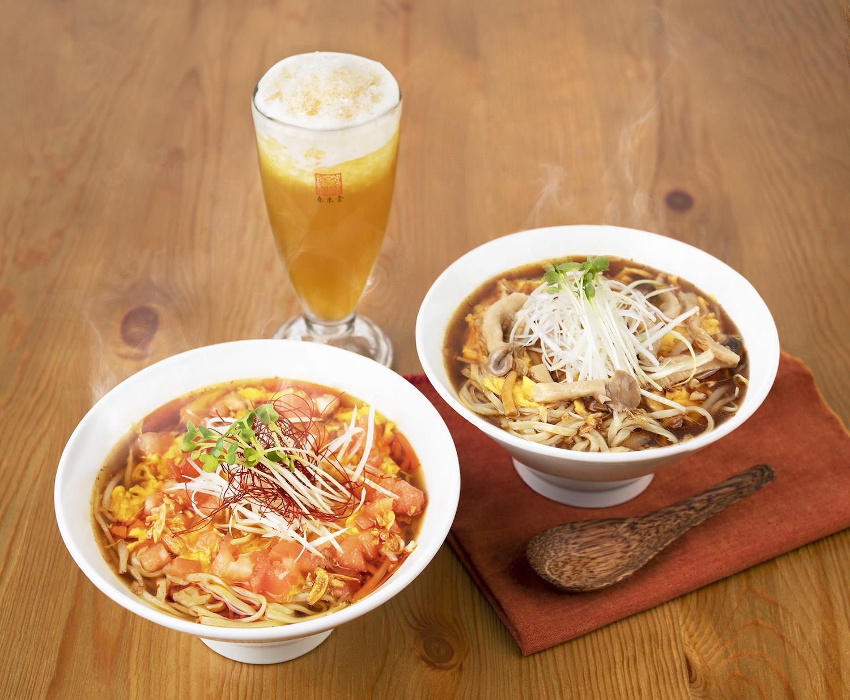 「酸辣湯麺(スーラータンメン)」と「ピリ辛トマトの酸辣湯麺」